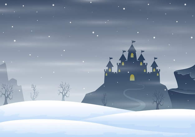 Christmas winter castle silhouette on the hill