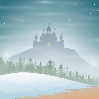 언덕에 크리스마스 겨울 성 실루엣