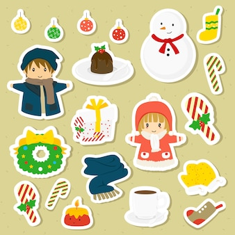 Christmas winter character and items vector collection