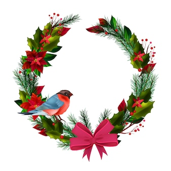 Christmas winter circle wreath with bullfinch, evergreen leaves, poinsettia, bow isolated on white