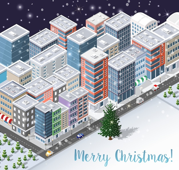 Christmas winter city background d