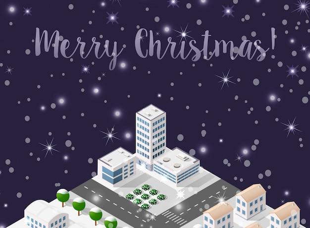 Рождественский зимний городской фон