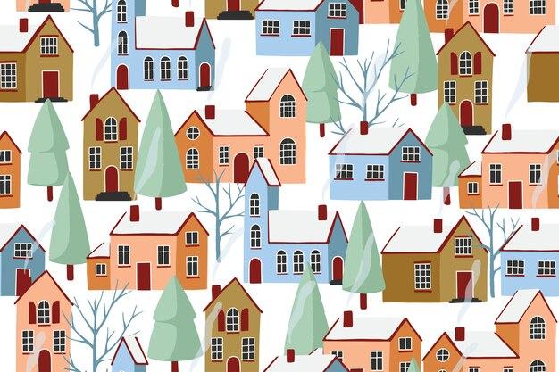 Christmas winter city cartoon seamless pattern.