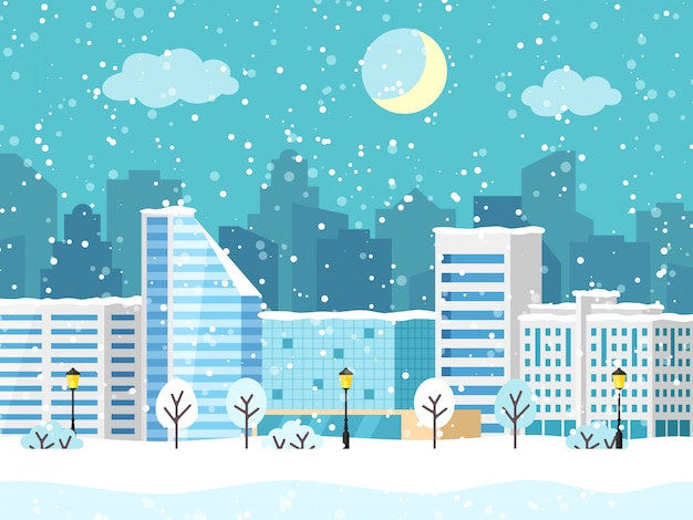 Christmas winter city vector landscape with building