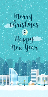 Christmas winter city vector vertical landscape with building