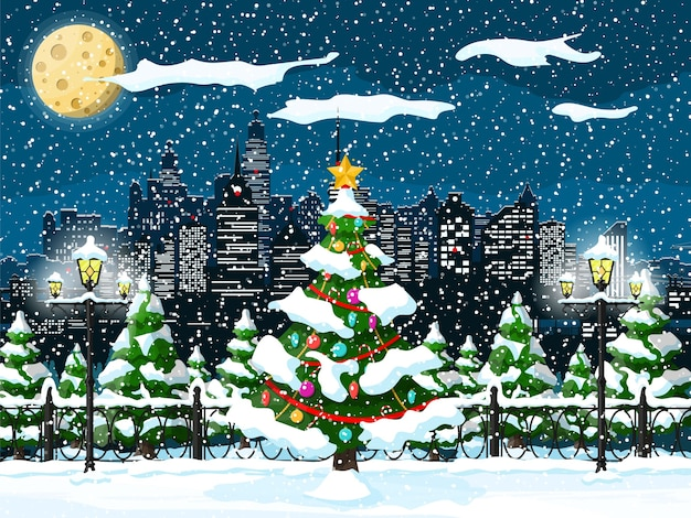 Christmas winter cityscape illustration