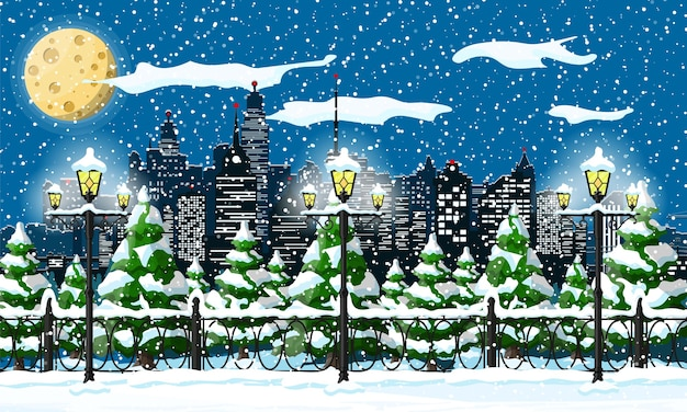 Christmas winter cityscape snowflakes and trees