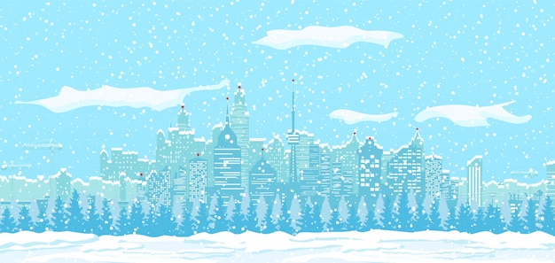 Christmas winter cityscape with snowflakes and trees