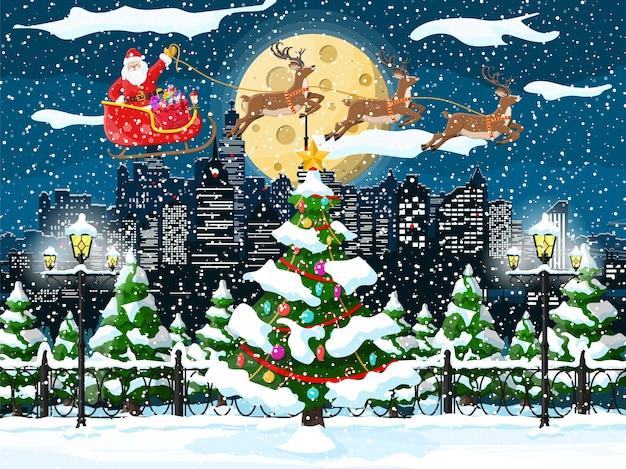 Christmas winter cityscape