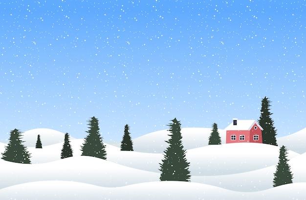 松と家のポストカードメリークリスマス幸せな新年の休日のお祝いグリーティングカード水平ベクトル図とクリスマス冬の田園風景