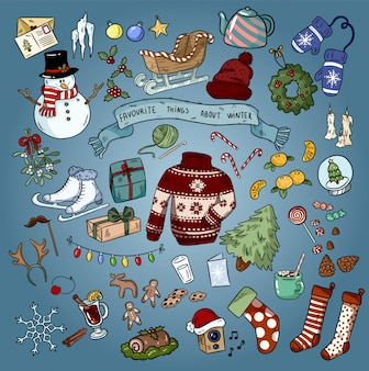 Christmas winter favourites colorful doodles.