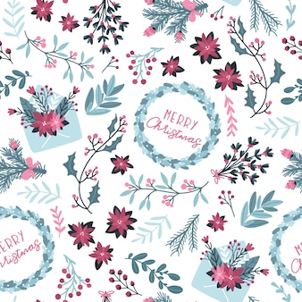 Christmas winter floral seamless pattern. with mail envelope and festive wreath with text in a hand-drawn style. pastel palette is ideal for printing packaging, fabrics, textiles.