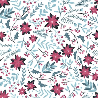 Christmas winter floral seamless pattern.