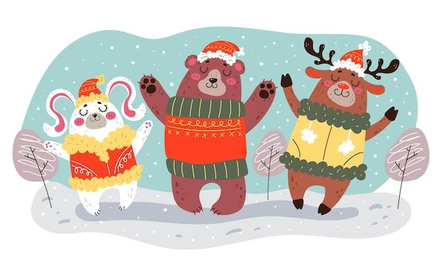 クリスマス冬の森の動物キャラクターのお祝い新年