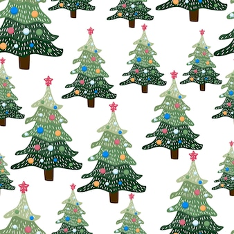 Рождественский зимний лесной пейзаж. бесшовные модели и фон