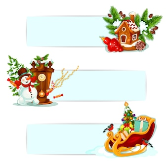 Christmas winter holiday banner set. xmas tree with ball and gift, snowman with snowy pine, gingerbread house, christmas bauble, santas sleigh, clock and bullfinch. xmas and new year decor design