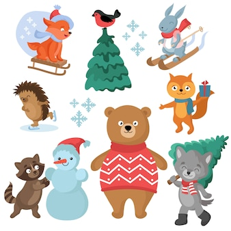 Christmas and winter holiday funny animals vector collection