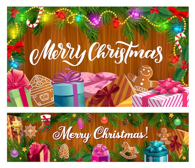 Christmas winter holiday gifts and xmas tree on wooden background design. present boxes with ribbons and bows, candies, stars and gingerbread, pine and holly branches with sock, balls, lights