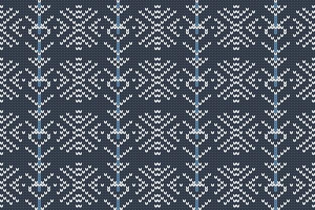 クリスマス、冬の休日はチェック柄、セーターのデザインのためのシームレスなパターンを編みます。