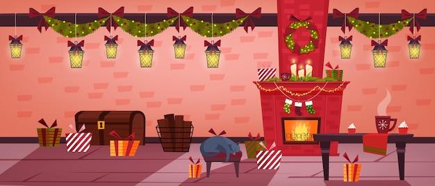 Рождественский зимний праздник интерьер комнаты с камином, чулки, спящий кот, стол, подарки