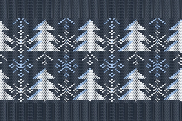 Christmas, winter holiday seamless knitting pattern with christmas trees and snowflakes.