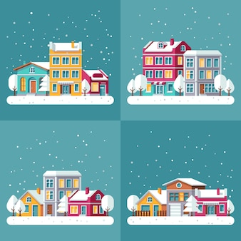 Christmas winter holiday vector backgrounds set with town streets. winter town landscape, house village building in snow illustration