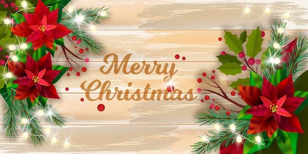 Рождество зимний праздник вектор пуансеттия фон с деревянным столом сверху, сосновые ветки