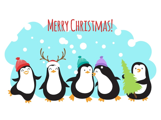 Christmas winter holidays greeting banner or background with cute cartoon penguins