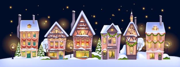 クリスマス冬の家の風景ベクトル休日クリスマス小さな町の背景装飾された村の景色