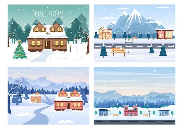 クリスマス冬の家の背景ベクトル