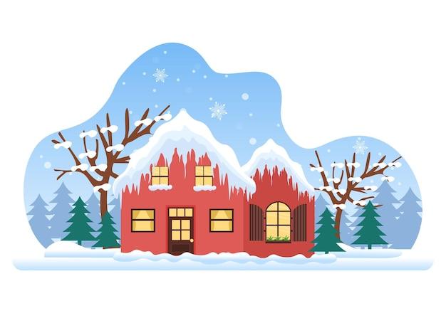 Рождественские зимние дома фон вектор