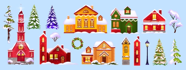 Christmas winter houses illustration collection with snow, village architecture, trees, street lamp