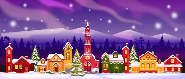 Christmas winter houses illustration with church, decorated facades, forest silhouette, sky