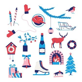 Рождество, набор зимних иконок