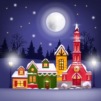 Christmas winter illustration with holiday houses, moon, night sky, stars, forest silhouette