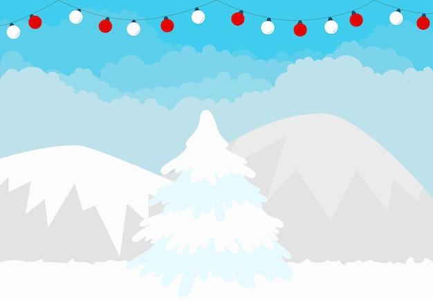 크리스마스 겨울 풍경 배경 산과 전나무 나무 배너