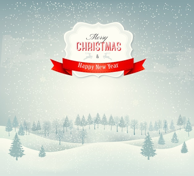 Christmas winter landscape background with santa sleigh.