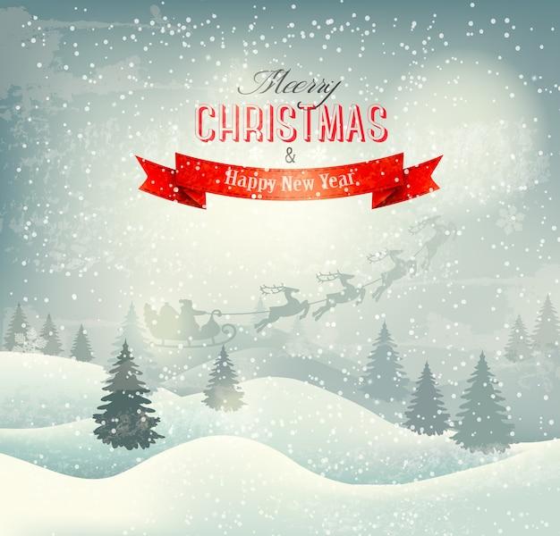 サンタそりとクリスマスの冬の風景の背景。