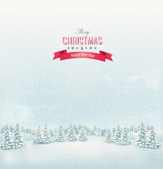 Рождественский зимний пейзаж фон.