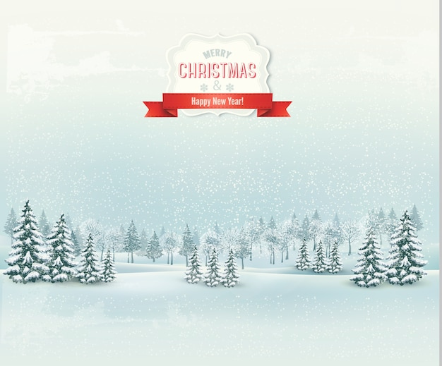 크리스마스 겨울 풍경 배경입니다.