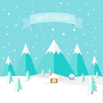 クリスマスの冬の風景デザイン