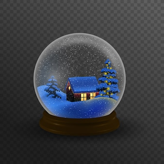 Christmas winter landscape globe with snow house forest mountains and stars inside isolated  .