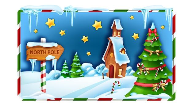 Christmas winter landscape north pole vector background xmas snow scenery santa claus house