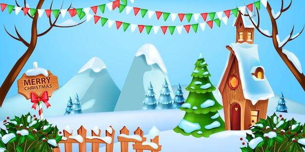 Christmas winter landscape vector holiday xmas snow background pine tree santa claus house flag