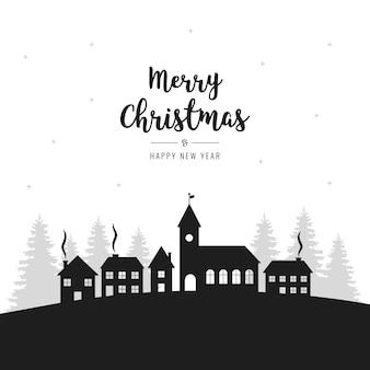 크리스마스 겨울 풍경 마을 인사말 배경