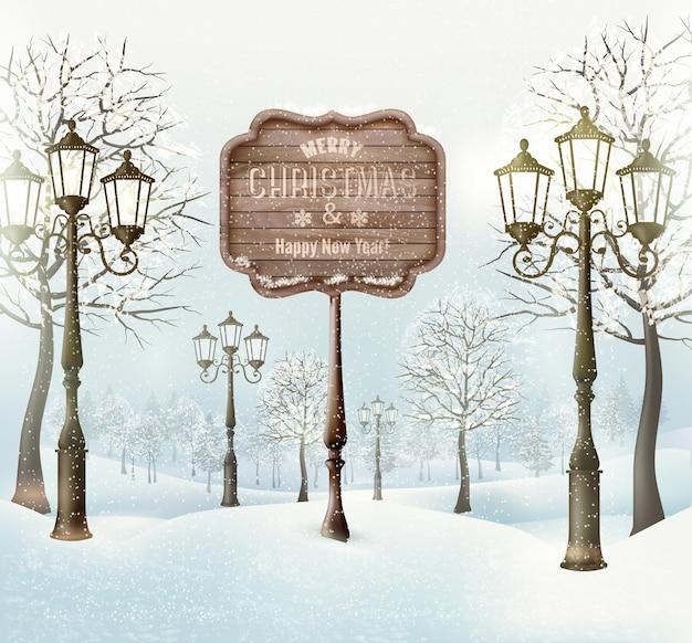 Рождественский зимний пейзаж с фонарными столбами и деревянным знаком. вектор.