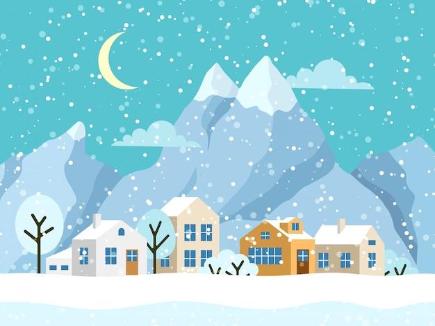 Рождественский зимний пейзаж с домиками