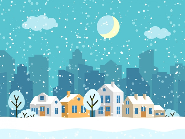 Christmas winter landscape with small houses