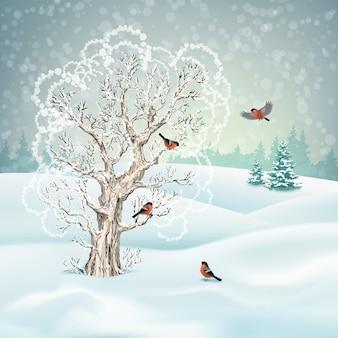 クリスマスの冬の風景