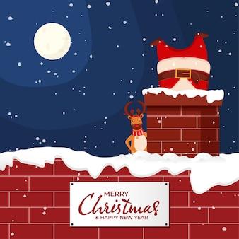 サンタクロースとトナカイとクリスマスの冬の夜の背景